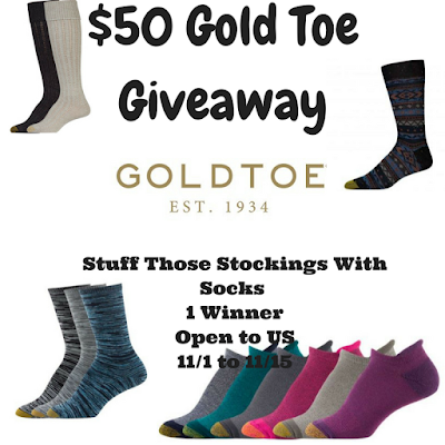 Enter the $50 Gold Toe Giveaway. Ends 11/15