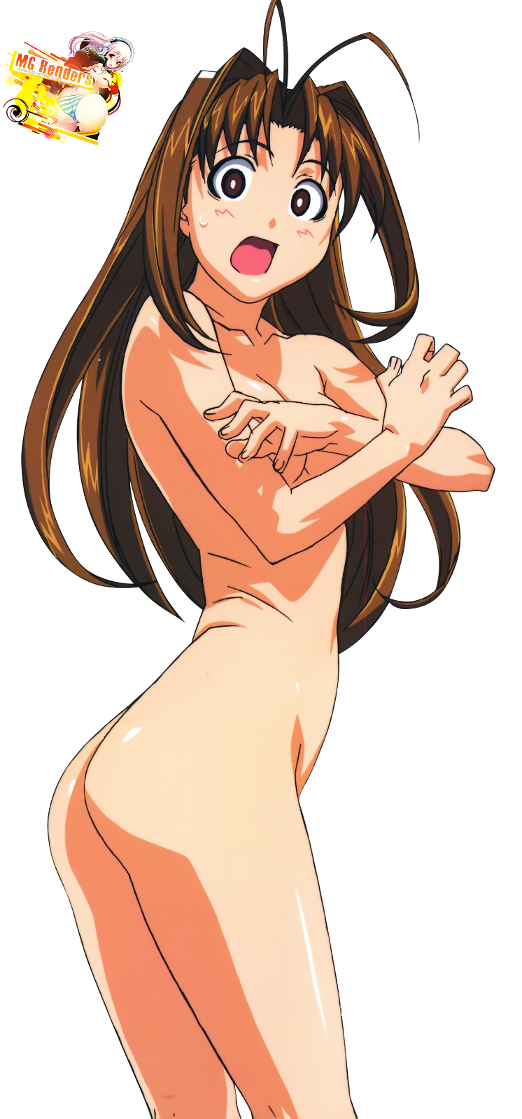 Tags: Anime, Render,  Love Hina,  Narusegawa Naru,  No bra,  Topless, PNG, Image, Picture