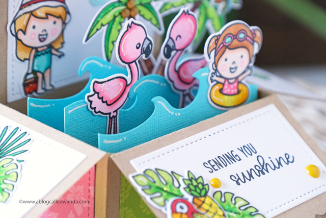 Sunny Studio Stamps: Fabulous Flamingos Coastal Cuties Sending Sunshine Fluffy Clouds Summer Themed Pop Up Card by Wanda Guess