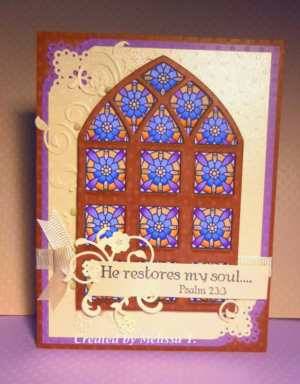 ODBD Porch, ODBD Cathedral Window Wood, ODBD Custom Cathedral Window and Border Dies, Card Designer Melissa T.