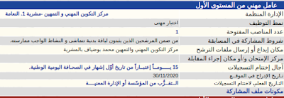 يعلن مركز التكوين المهني و التمهين -مشرية 1. النعامة  عن فتح مسابقة توظيف للالتحاق بمناصب الشغل التالية