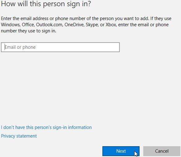 Windows 10, Paramètres, Comptes, Ajouter quelqu'un d'autre à ce PC, comment cette personne se connecte. Pour ajouter un utilisateur avec un compte Microsoft existant, entrez l'adresse e-mail. Ensuite, cliquez sur Suivant.