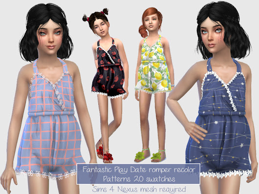 Fantastic Play Date Romper Recolor for Kids (mesh by Sims4Nexus)