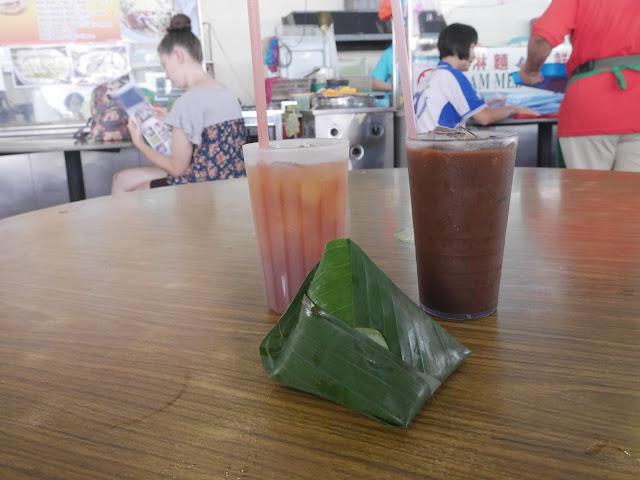 nasi lemak, lemon tea, and Malaysian iced coffee