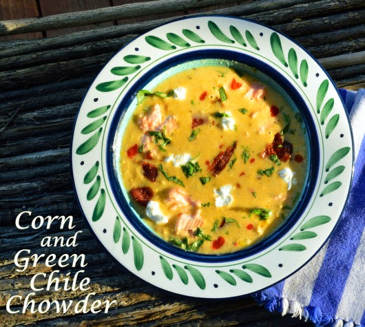 This green chile, corn and salmon chowder is made in a flash. Garnish with goat's cheese and bacon. This is good! #chowder #greenchile #soup #smokedsalmon www.thisishowicook.com