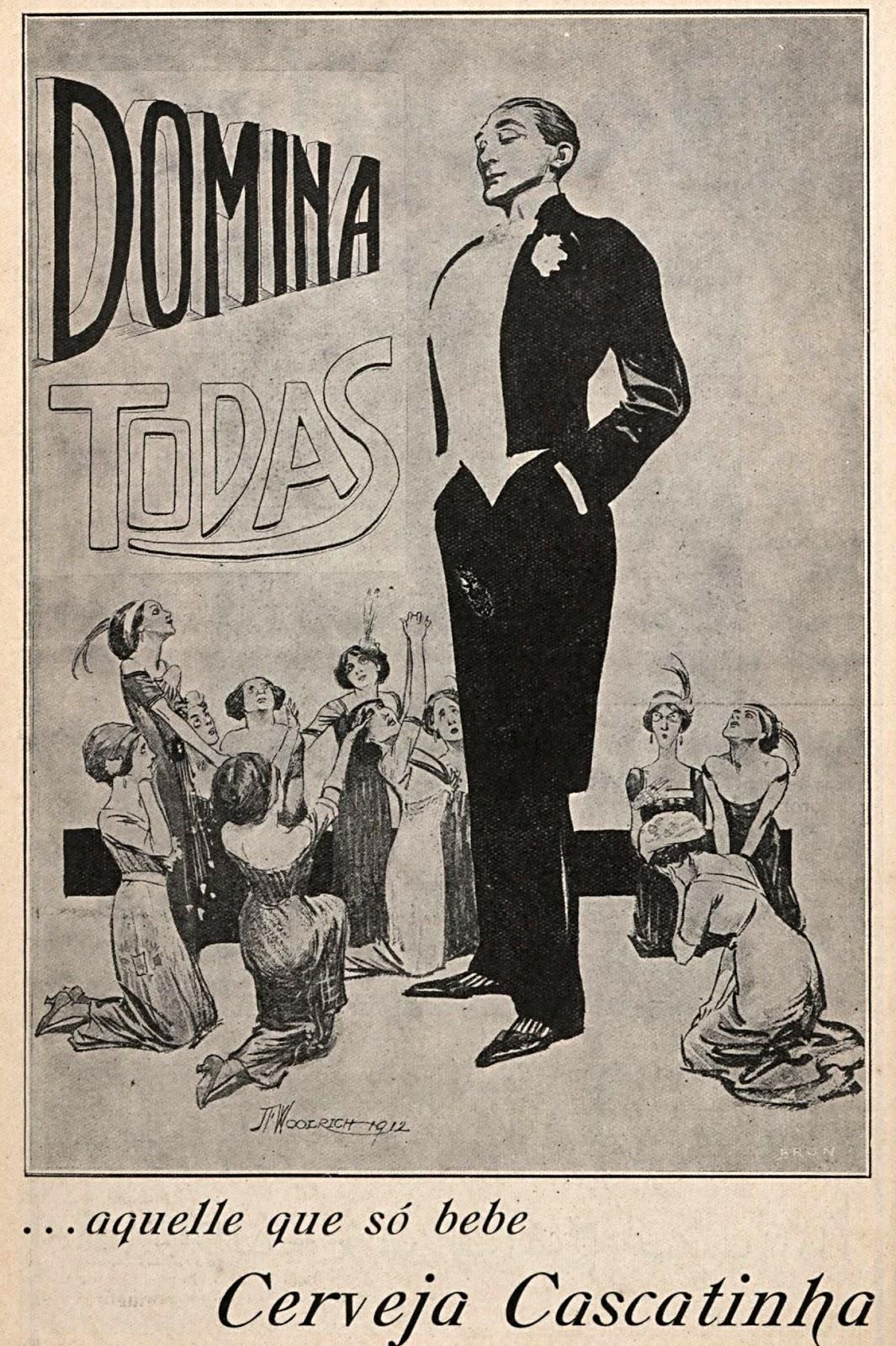 Propaganda antiga de 1914 que apresentava a Cerveja Cascatinha com uma comunicação que inferiorizava as mulheres