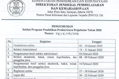 Pendaftaran PPG Prajabatan Tahap 2 Tahun 2020