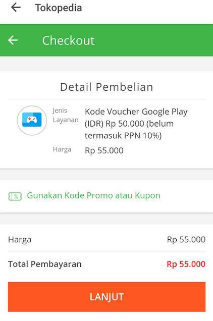Proses Pembelian Saldo Google Play Di Tokopedia