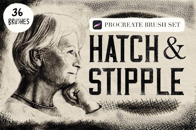 Hatch & Stipple Procreate[Photoshop][Brushes][5498208]