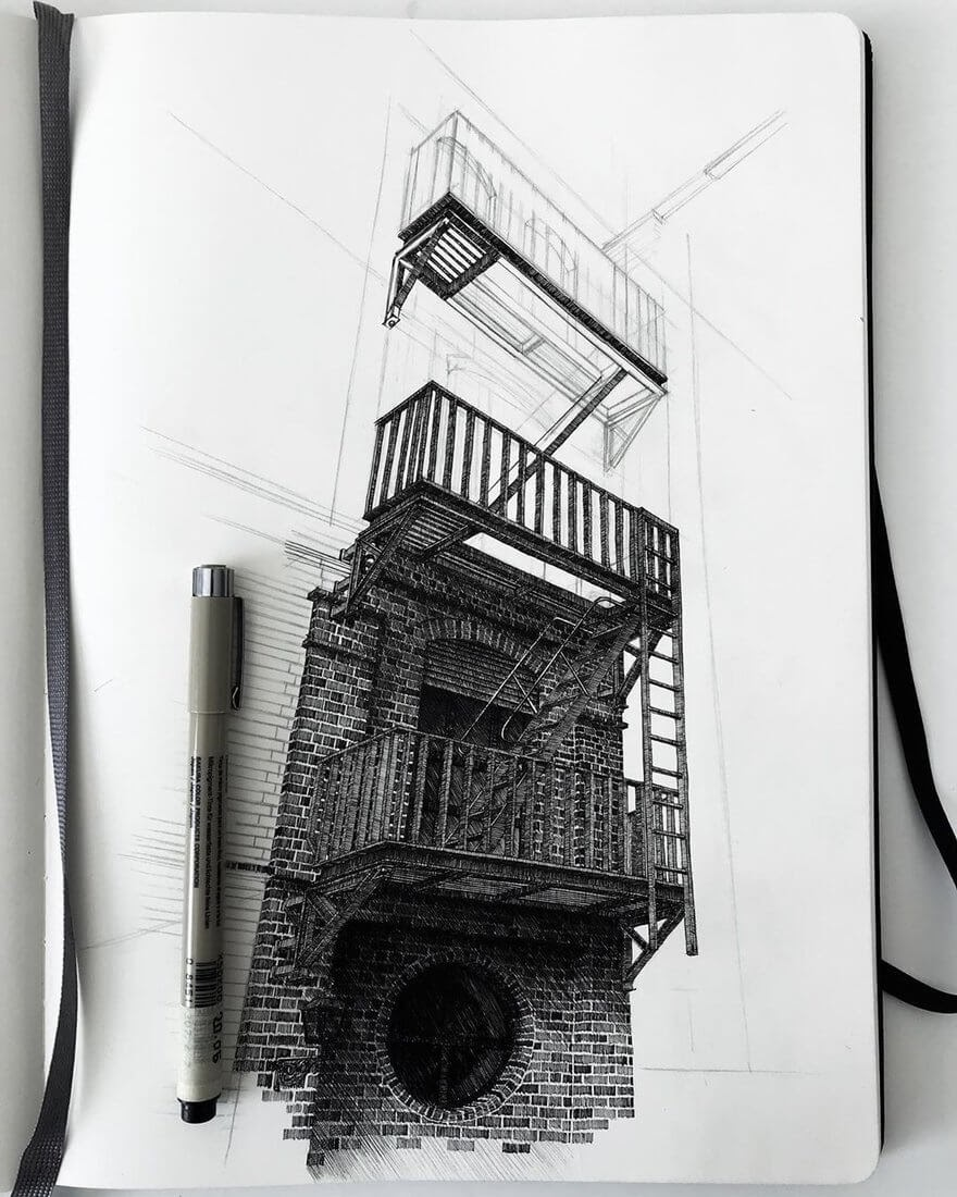 03-Fire-escape-WIP-Mariusz-Uryszek-Ink-Architectural-Urban-Sketches-www-designstack-co