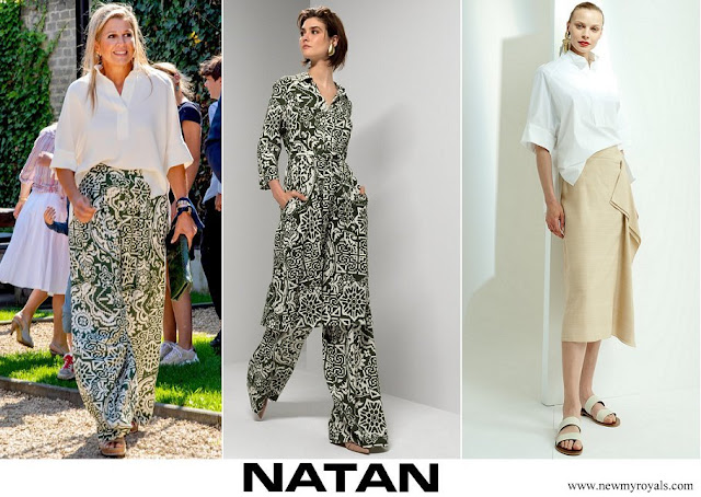 Queen Maxima wore Natan white silk shirt and printed linen trousers