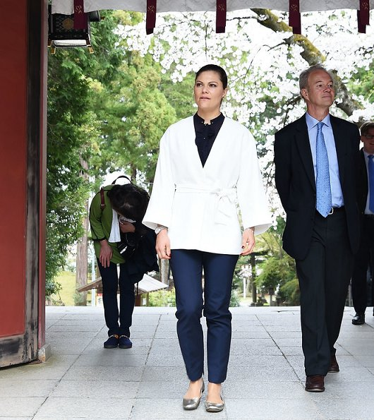 Crown Princess Victoria visited Shiogama Shinto Shrine and visited Shiogama port and the Japan's Meiho Tuna Fishery packing plant