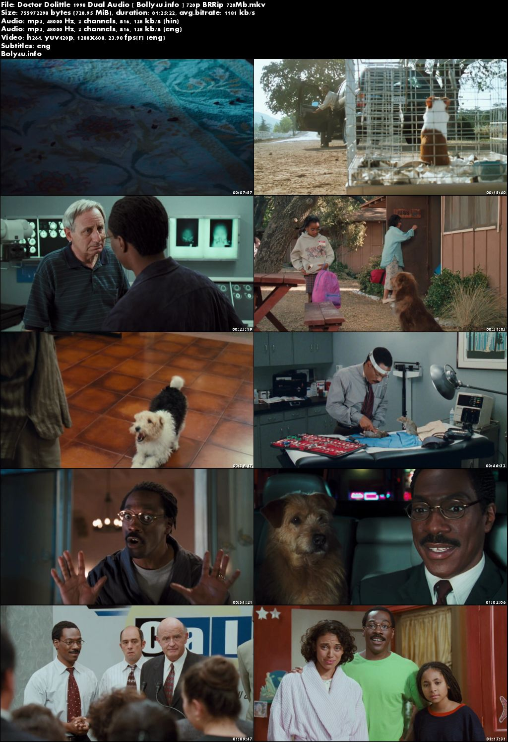 Doctor Dolittle 1998 BRRip 250MB Hindi Dual Audio 480p Download