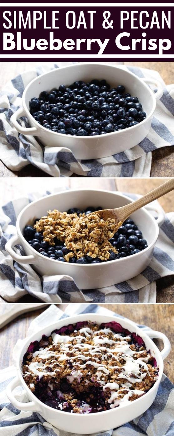 Simple Oat & Pecan Blueberry Crisp #dessert #recipes #baking #glutenfree #easy