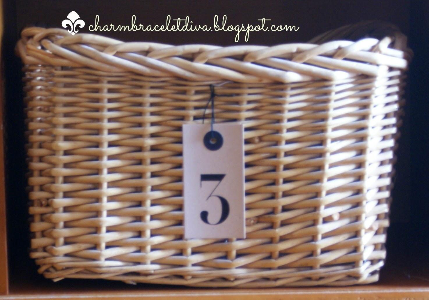 storage basket with number 3 preprinted tag