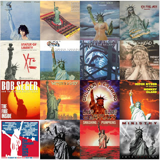 Composite image made of 16 music album covers that feature the State of Liberty on them.