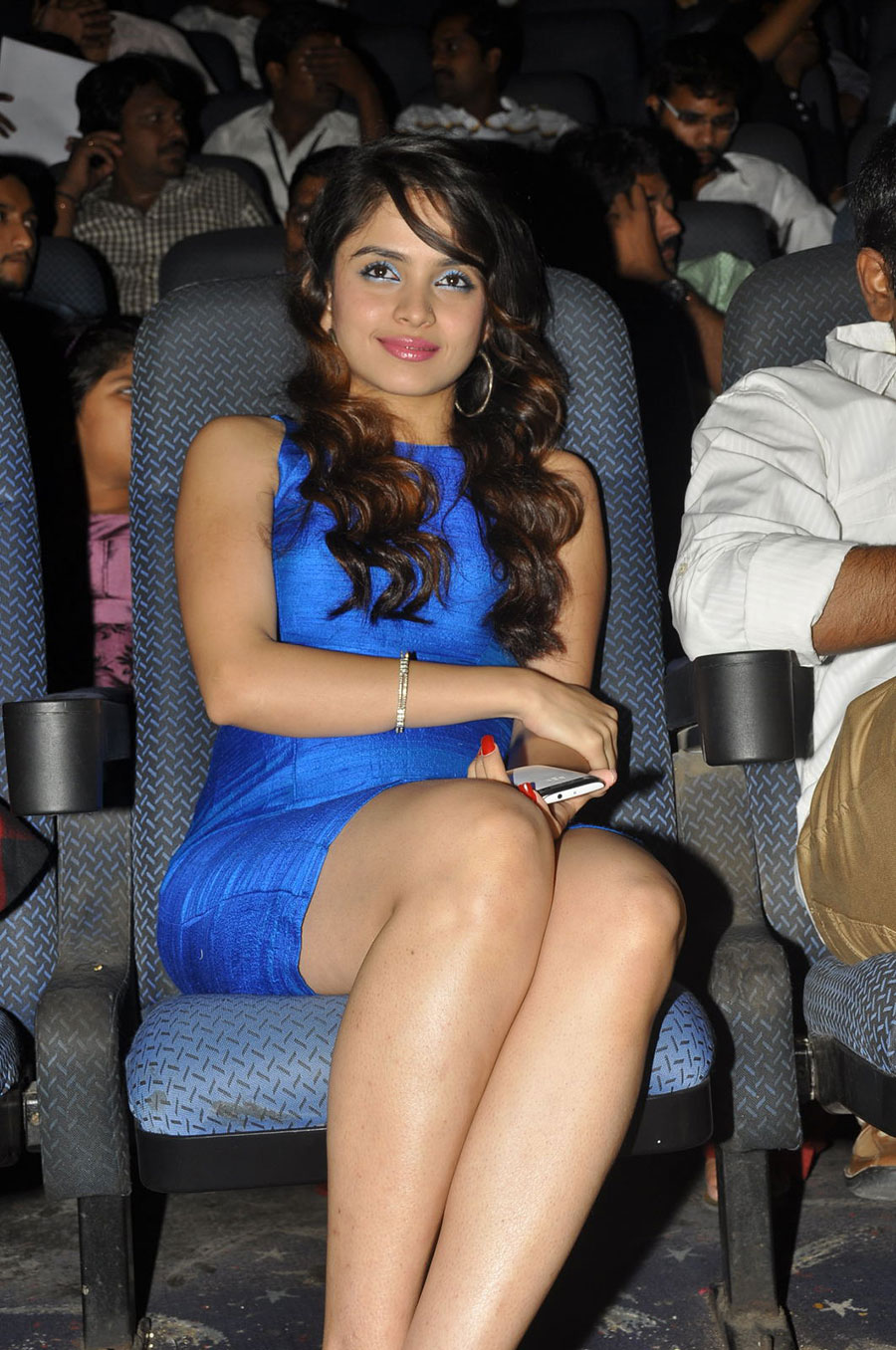 glamorous hot sexy Sheena shahabadi in blue short dress legs new hot pics at action music release