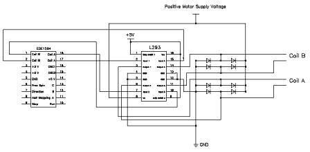 EDE1204 Bi-Polar Stepper Motor IC Connection via L293