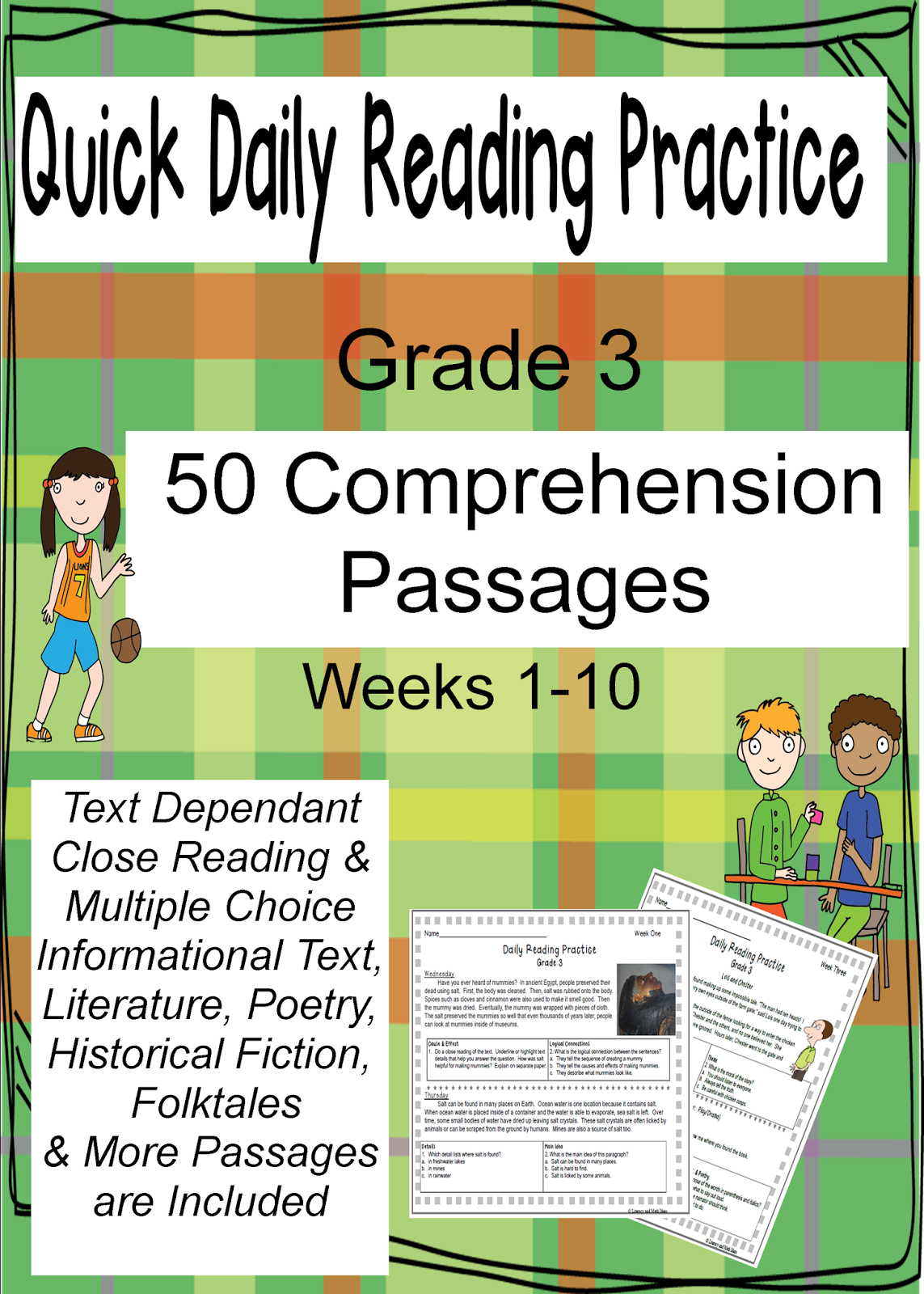 Literacy Amp Math Ideas Daily Reading Comprehension Practice Grade 3