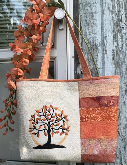 Sunset Tree Quilted Tote Bag Free Tutorial designed by Helen of Advanced Embroidery Designs