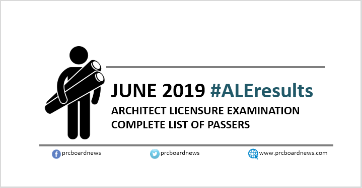 ALE RESULT: June 2019 Architect board exam passers