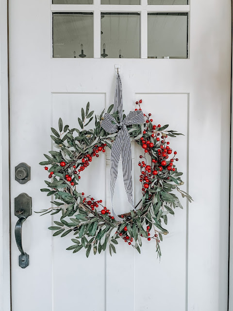 Olive Leaf red berry wreath on Front door