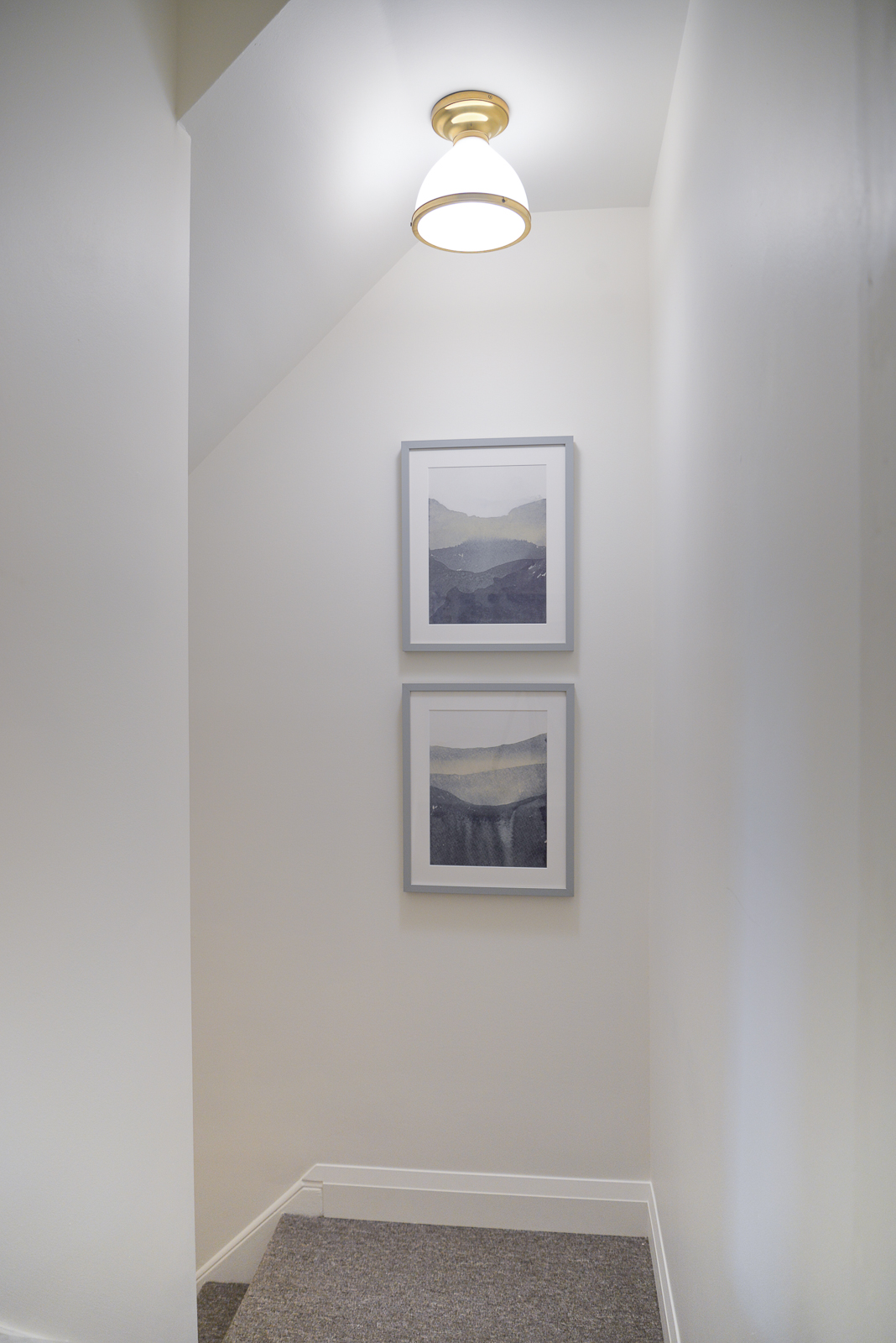 basement remodel, coastal basement, white basement, basement stairwell