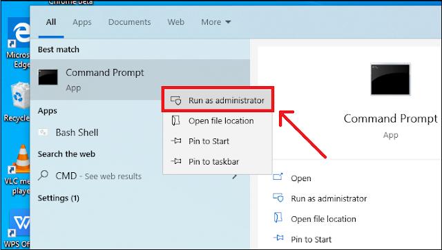 Windows CMD as administrator.