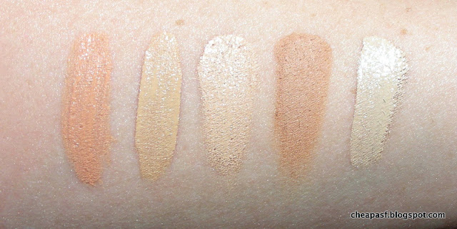 Swatches of LA Girl Pro Conceal HD Concealer in Classic Ivory, Sephora Gel Serum Concealer in Fondant, TheBalm Time Balm Concealer in Lighter than Light, Clé de Peau Beauté Concealer in Beige, and Nars Radiant Creamy Concealer in Chantilly