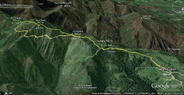 Mapa ortográfico Pesquerín - Pico Torre - Piloña