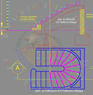 Sección de escalera compensada de ámbito restringido, cumpliendo el CTE - SUA1 - Seguridad frente al riesgo de caídas