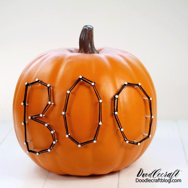 That's it! Set it on a stack of rustic books for the perfect Halloween decoration. Oriental Trading has Black pumpkins, White pumpkins and even a Teal Pumpkin that string art would look great on.