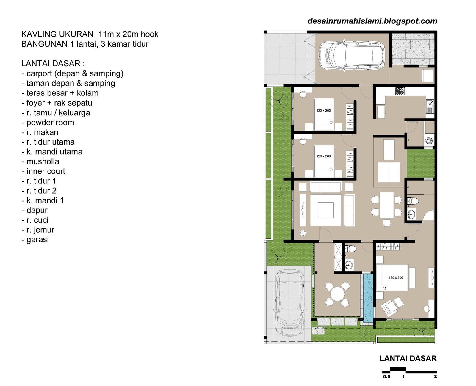 Desain Rumah 1 Lantai Hook posisi sudut dengan 3 Kamar