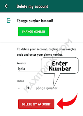 Enter Number and Click on Delete Account