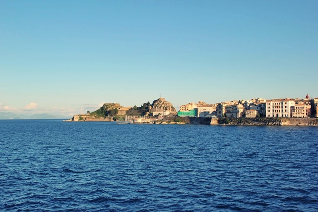 Corfu island blue sea