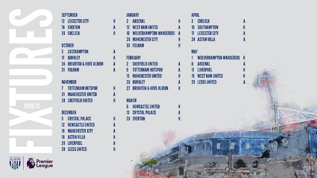 مباريات ويست بروميتش  للموسم الجديد من الدورى الانجليزى
