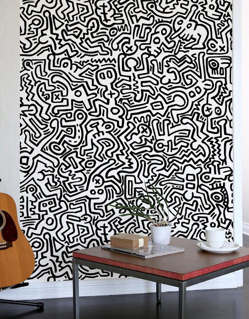 Fresque Murale géante Movement Noir - Keith Haring