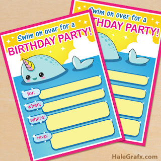 Narwhal birthday party invitations