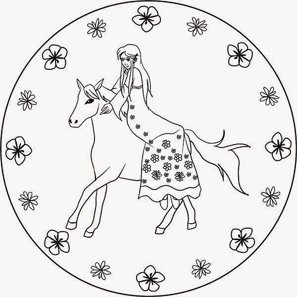 Ausmalbilder Mandalas Prinzessin zum Drucken