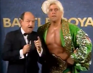 WWF / WWE: Battle Royal at the Royal Albert Hall: 'Real World's Champion' Ric Flair talks to Mean Gene Okerlund
