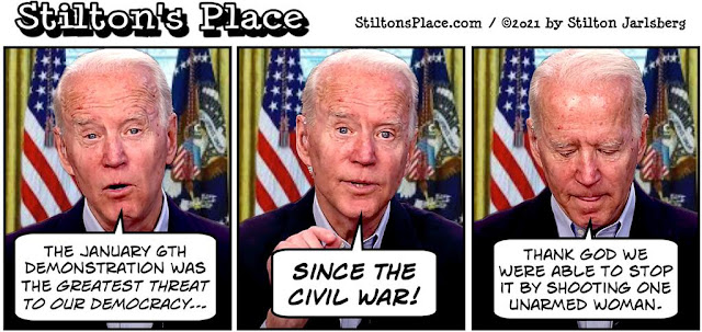 stilton's place, stilton, political, humor, conservative, cartoons, jokes, hope n' change, January 6, insurrection, demonstration, riot, Ashli Babbitt, Civil War, Biden, liar