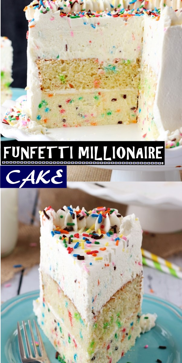 FUNFETTI MILLIONAIRE CAKE #cakerecipes