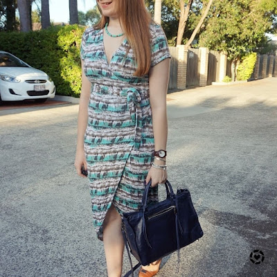 awayfromblue instagram Atmos&here jersey wrap dress, Rebecca Minkoff regan satchel