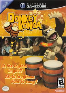 "Carátula del ""minidisco"" para la Nintendo GameCube de Donkey Konga, 2003"