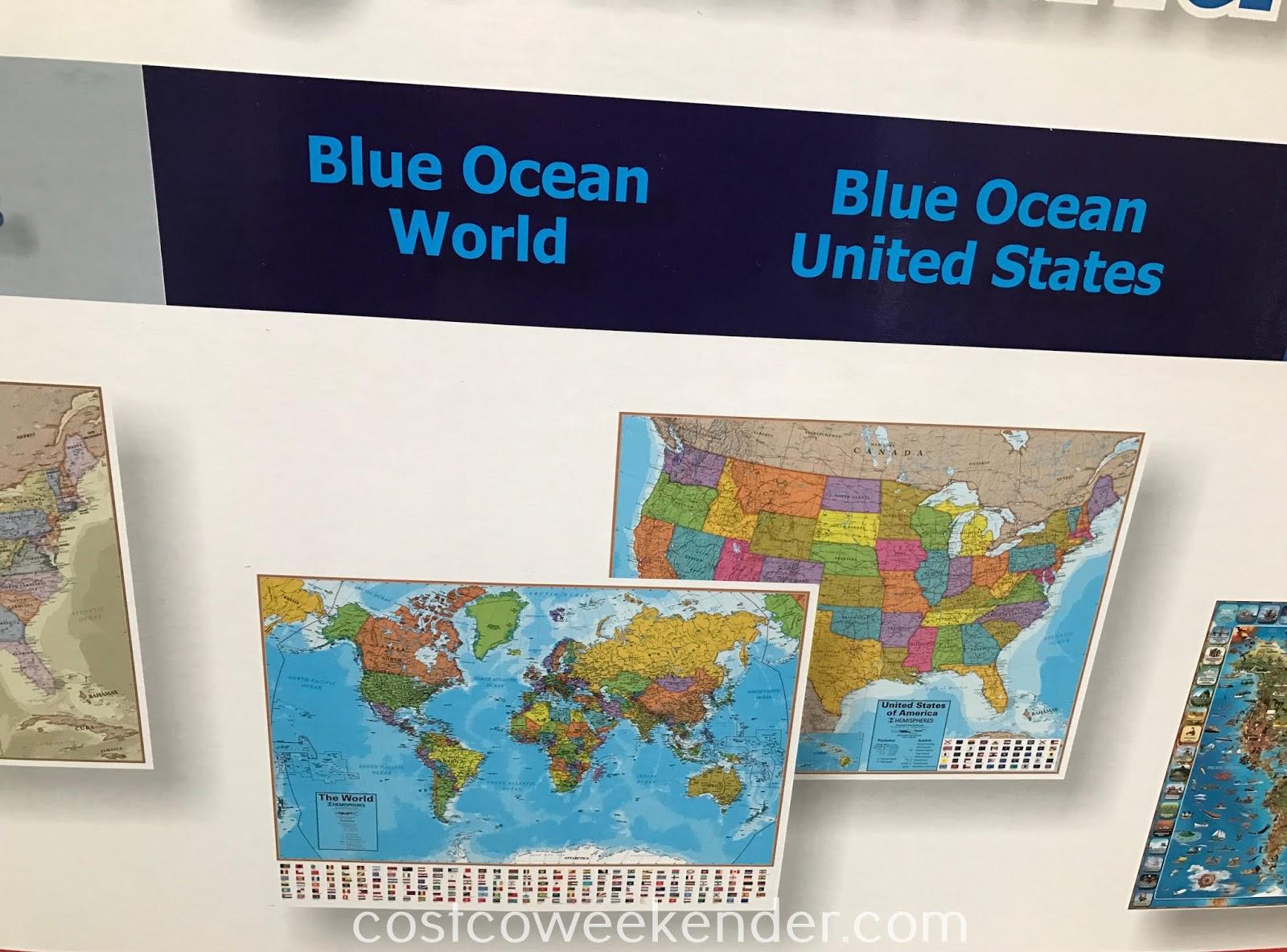 Large Laminated Us Map.Hemispheres Large Laminated Wall Maps Charts Costco Weekender