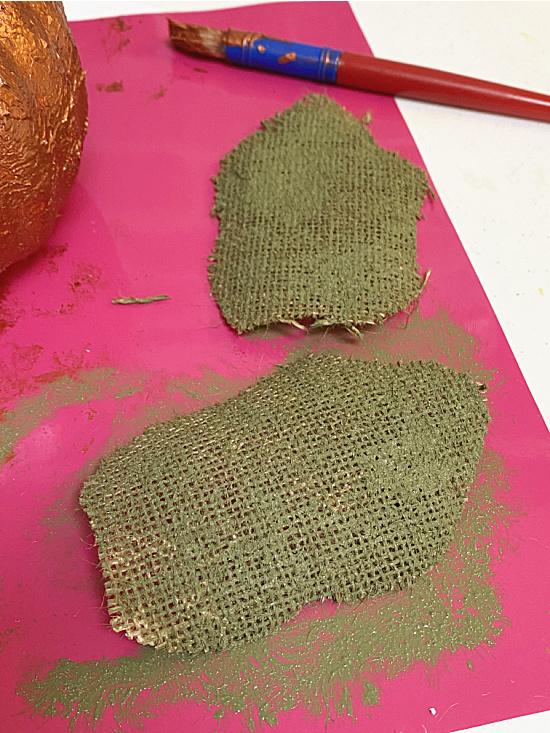 painted burlap leaves