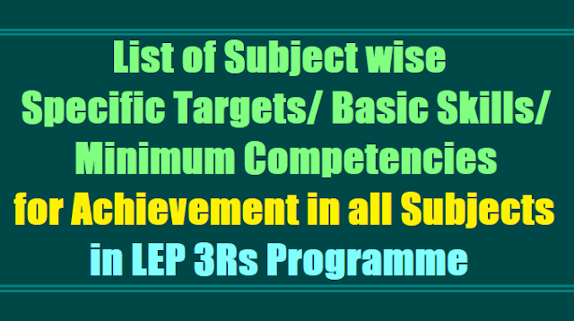 List of Subject wise Specific Targets,Basic Skills, Minimum Competencies for Achievement in LEP Programme