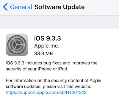 It's a really simple and different method for installing iOS 9.3.3 firmware on iPhone, iPad and iPod touch. Go to Settings --- General --- Software Update and Hit download and Install.