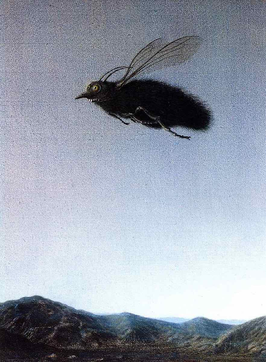 Michael Sowa, a giant ugly flying insect with landscape