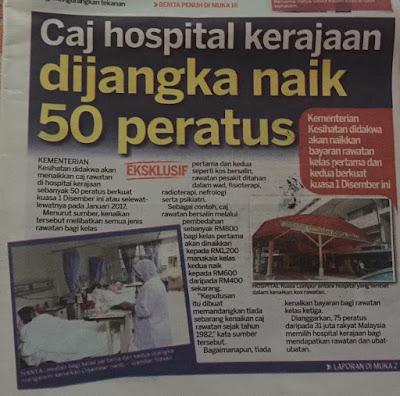 Image result for Caj Wad Hospital Kerajaan Seluruh Negara Akan Dinaikkan 50% Mulai Januari 2017